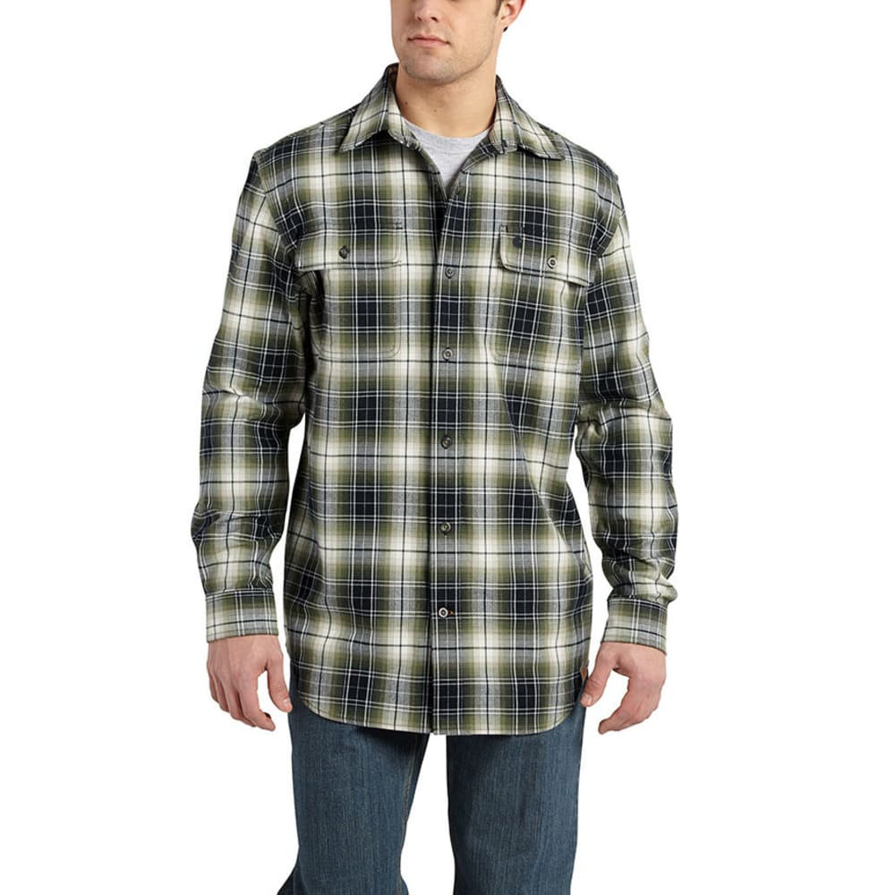 CARHARTT Men's Hubbard Plaid Shirt - DUFFLE BAG GREEN