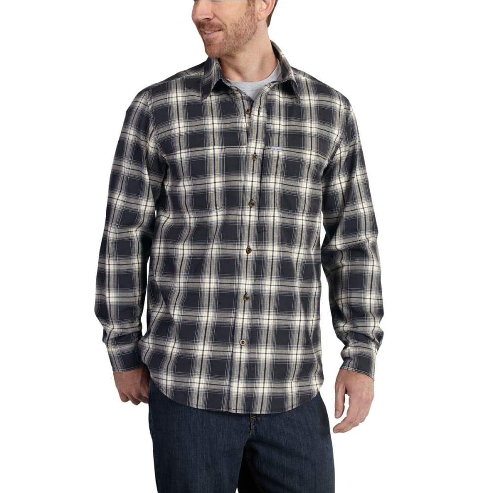 CARHARTT Men's 101754 Force Reydell Fast Dry Flannel - BLACK/RISK RED