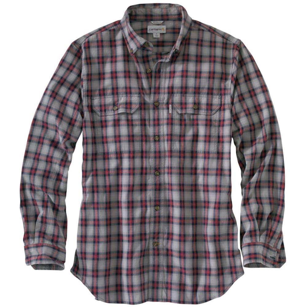 CARHARTT Men's Fort Plaid Long-Sleeve Shirt - ASPHALT GRAY