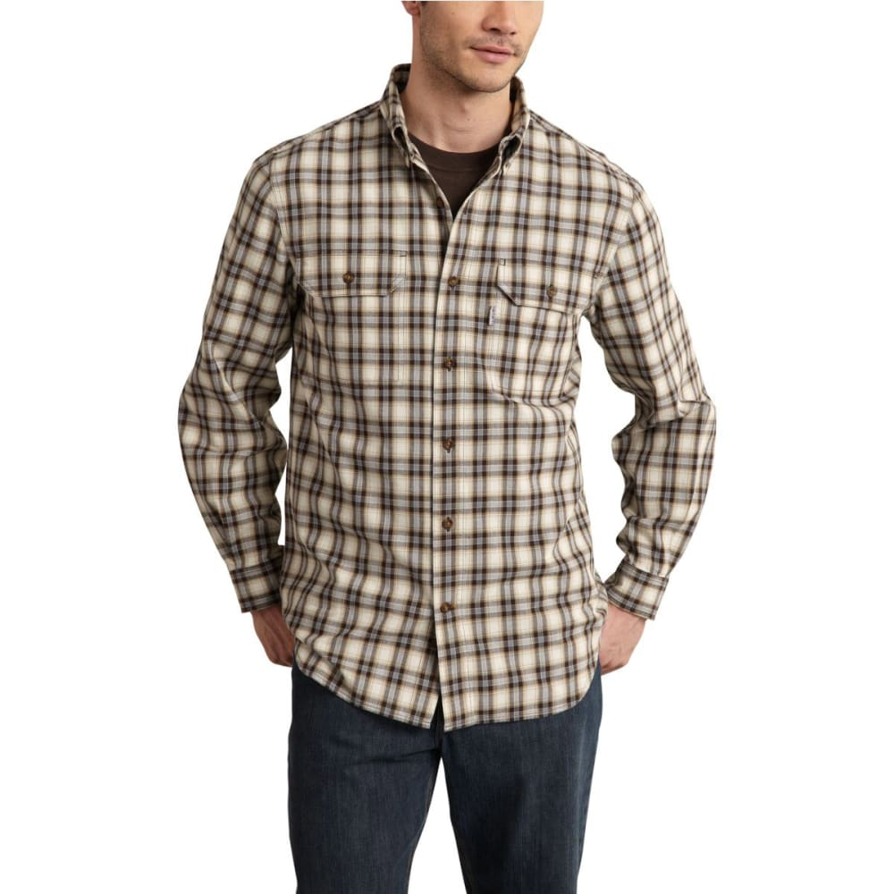 CARHARTT Men's Fort Plaid Long-Sleeve Shirt - DARK BROWN