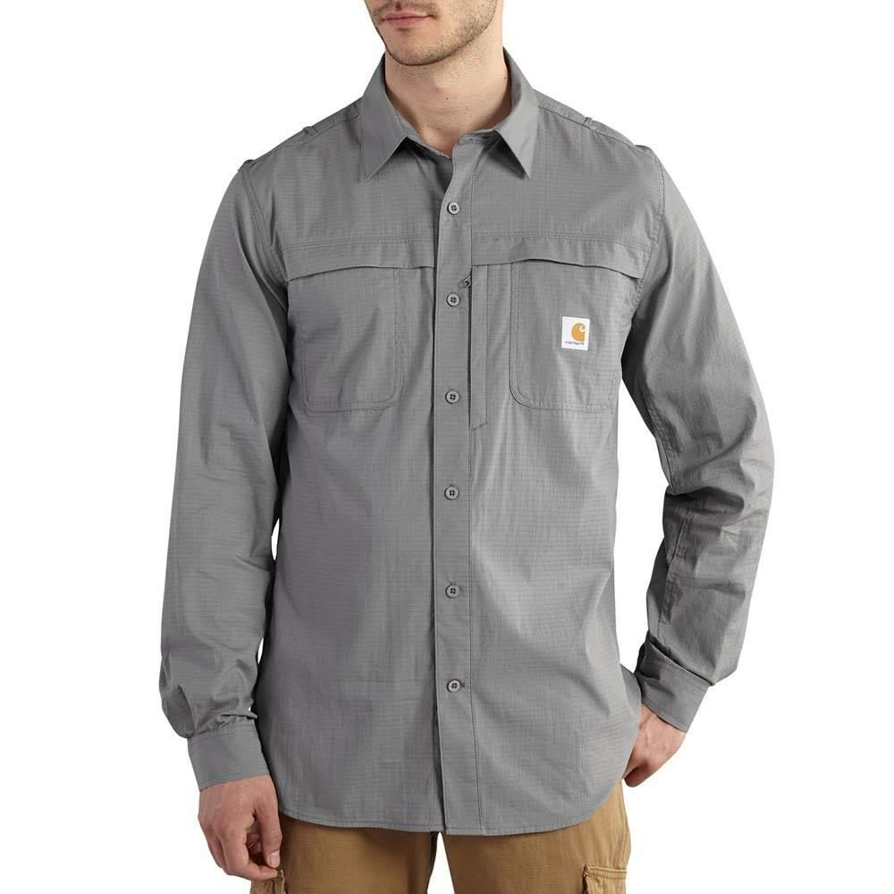 CARHARTT Men's Full Swing Force Mandan Long-Sleeve Shirt - BLACK/STEEL/TROPICAL