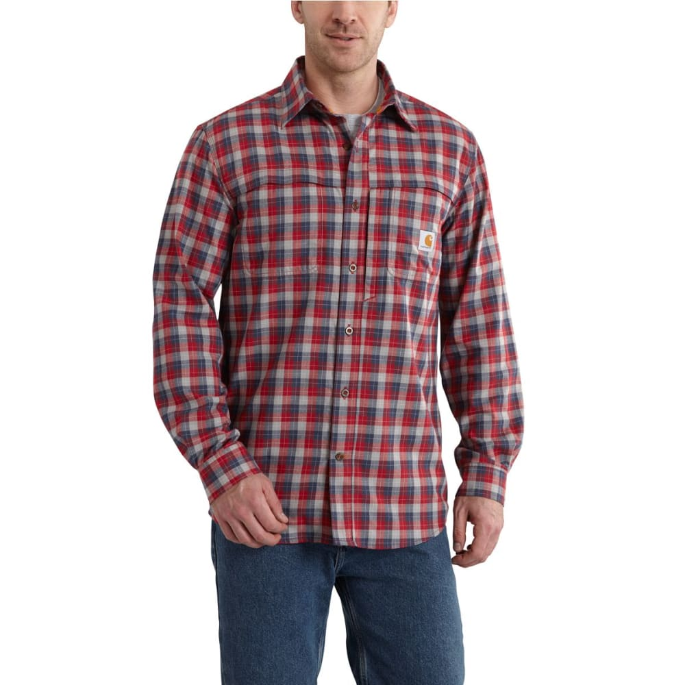 CARHARTT Men's Force Reydell Long Sleeve Flannel - DARK CRIMSON