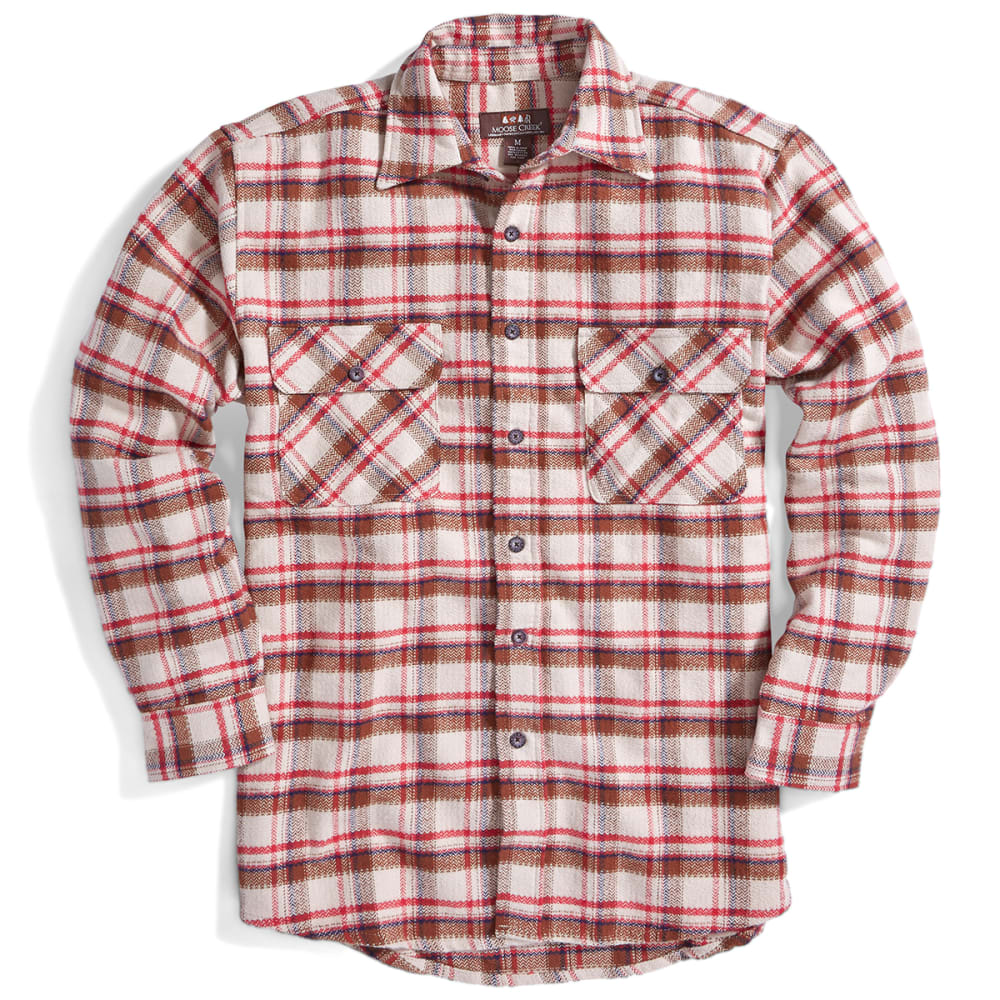 MOOSE CREEK Men's Long Sleeve Brawny Flannel Shirt, Big & Tall - RED WOOD BO7260-10