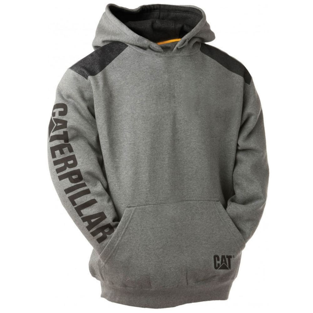 CATERPILLAR Men's Logo Panel Hoodie - 004 DK HEATHER GREY