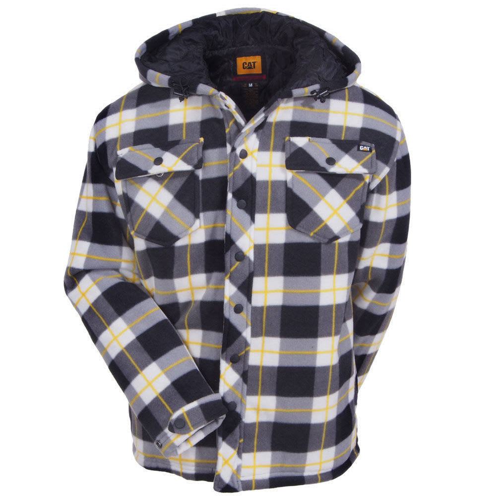 CATERPILLAR Men's Active Work Fleece Hooded Jacket - 46B BLK WATCH PLAID