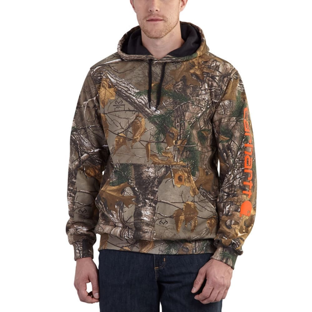 Carhartt Men's Mid-Weight Camo Hooded Sweatshirt - Green, L