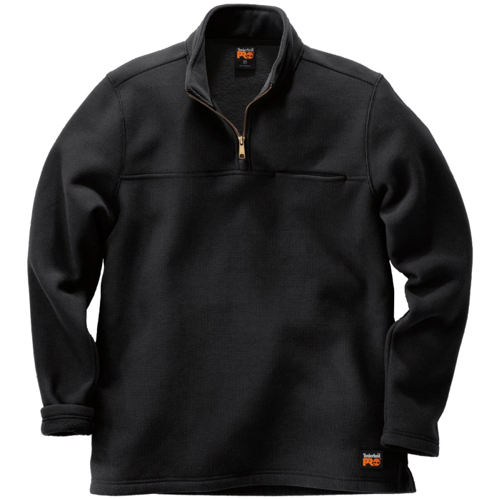TIMBERLAND PRO Men's Quarter Zip Textured Men's Pullover - BLACK 015