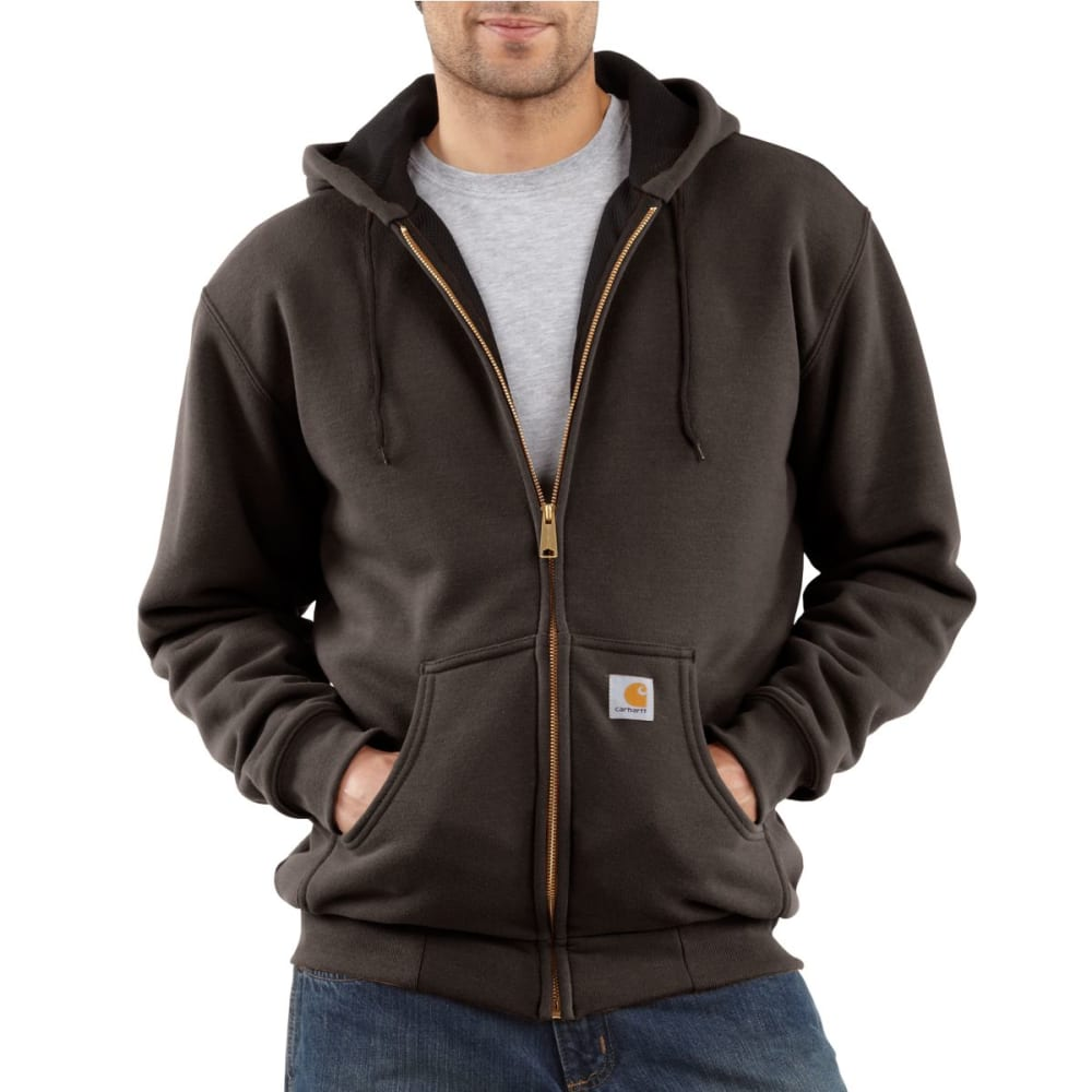 CARHARTT Men's Thermal Lined Hooded Full-Zip Sweatshirt - DARK BROWN
