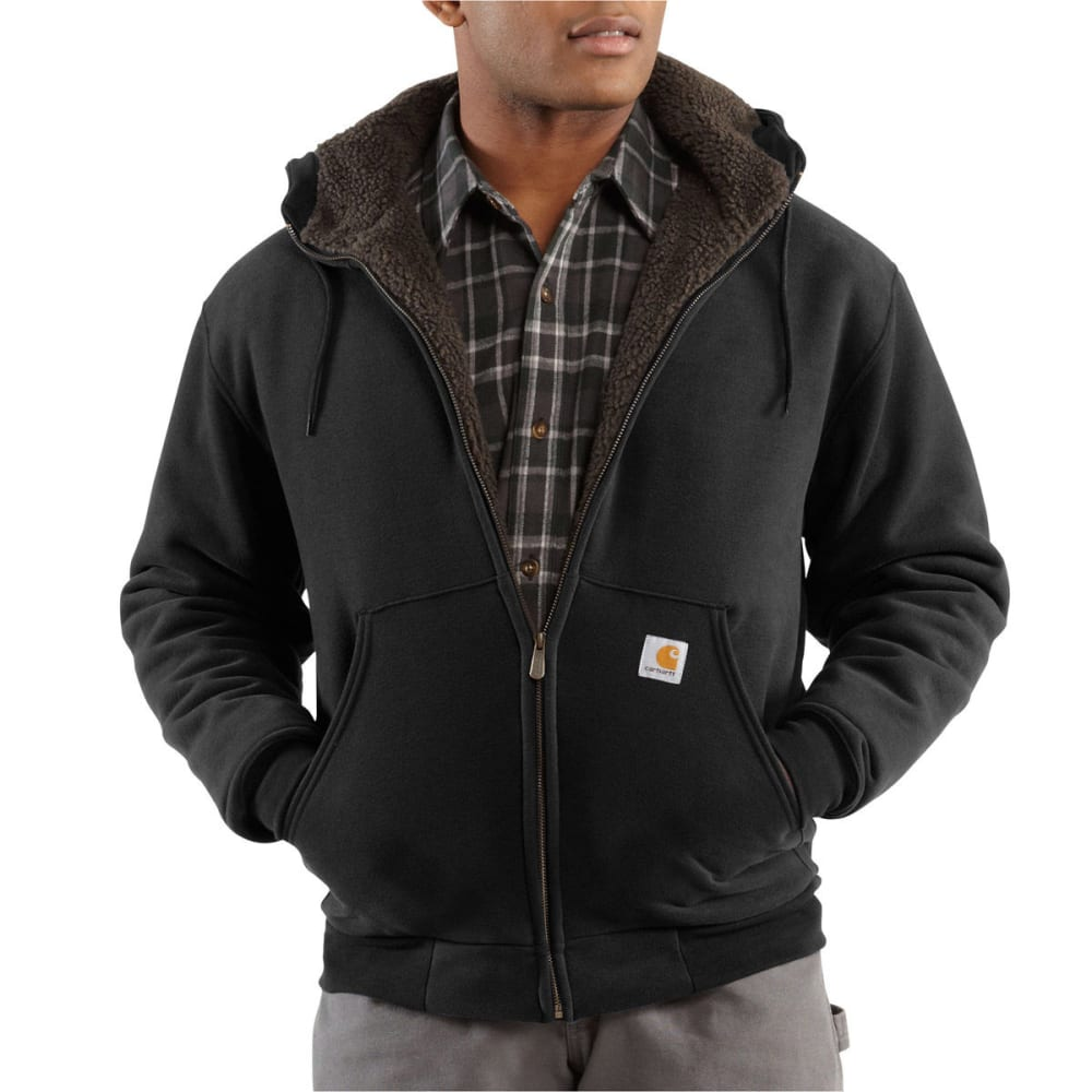 CARHARTT Men's Collinston Brushed-Fleece Sherpa-Lined Sweatshirt - BLACK