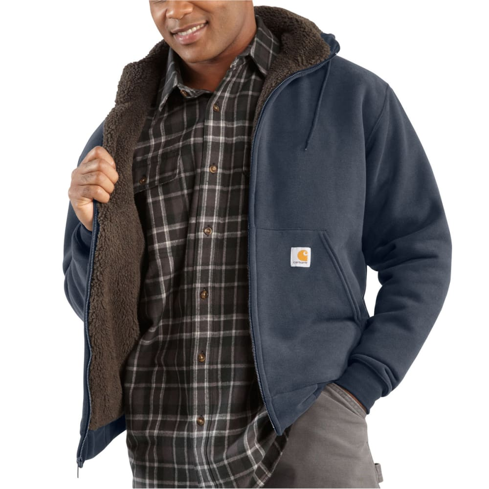 CARHARTT Men's Collinston Brushed-Fleece Sherpa-Lined Sweatshirt - 472 NEW NAVY