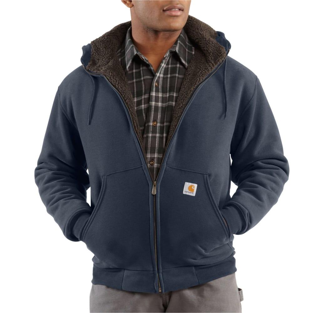 CARHARTT Men's Collinston Brushed-Fleece Sherpa-Lined Sweatshirt - 472 NEW NAVY
