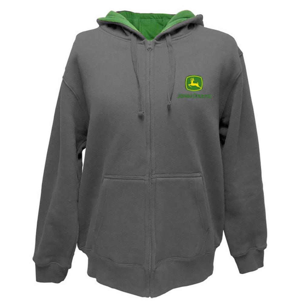JOHN DEERE Men's Front Zip Hooded Logo Sweatshirt - CHARCOAL