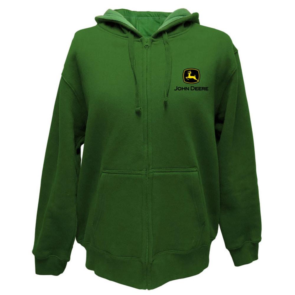 JOHN DEERE Men's Front Zip Hooded Logo Sweatshirt - GREEN