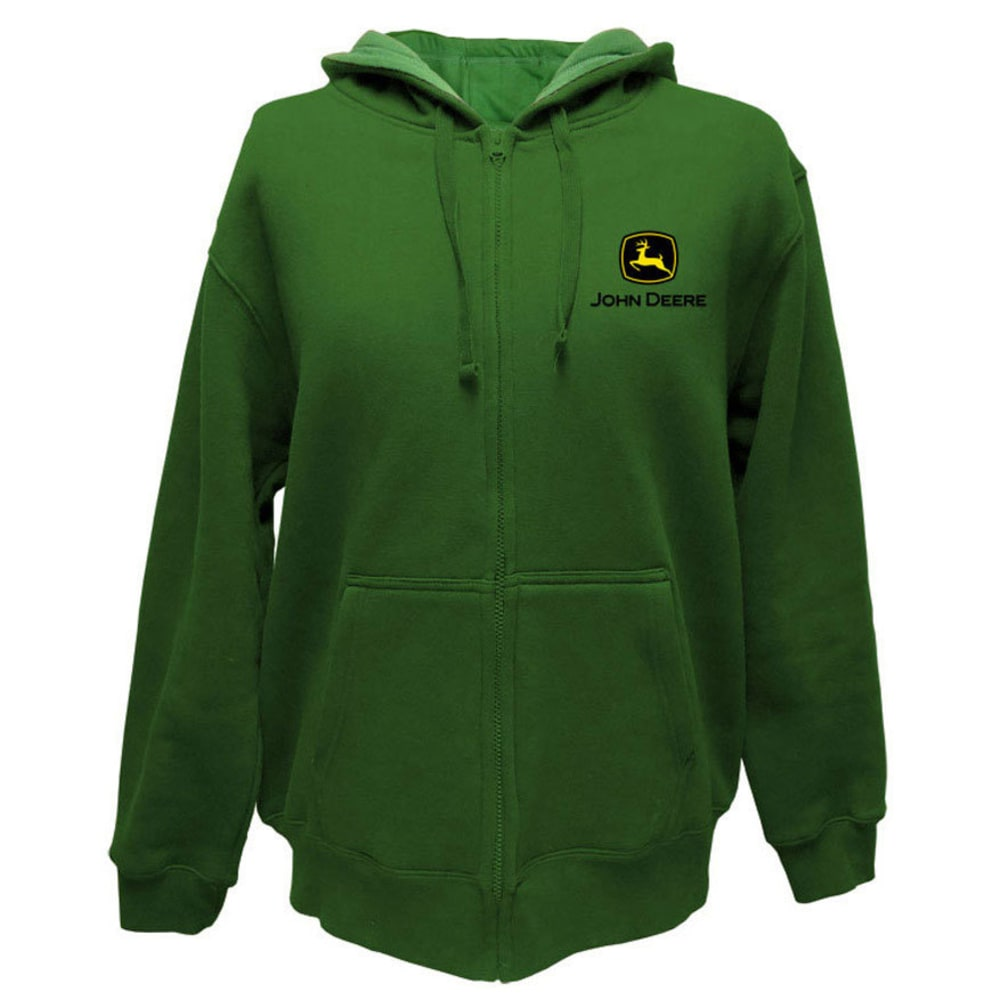 JOHN DEERE Men's Front Zip Hooded Logo Sweatshirt - GREEN