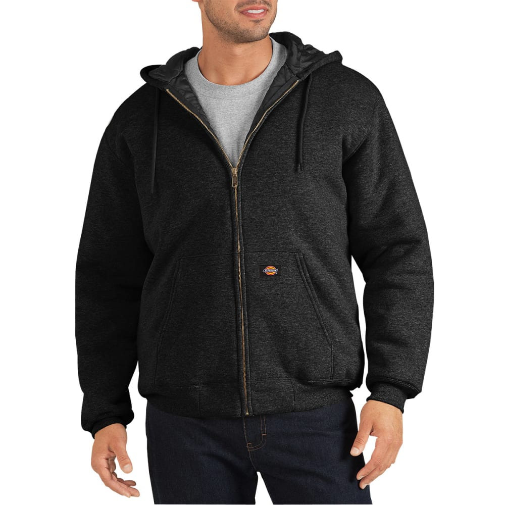 DICKIES Men's Heavyweight Quilted Fleece Hoodie - BLACK
