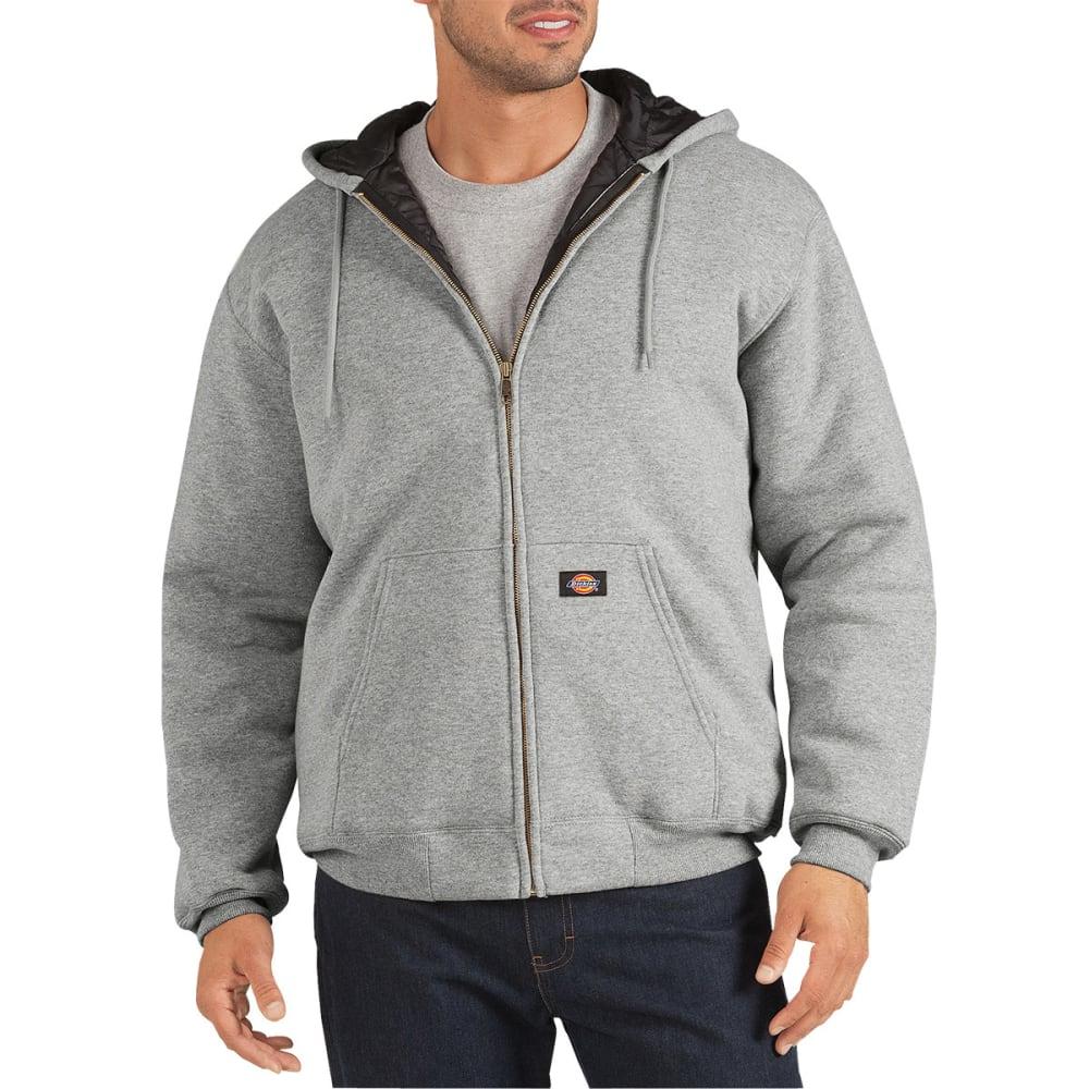 DICKIES Men's Heavyweight Quilted Fleece Hoodie - HEATHER GREY