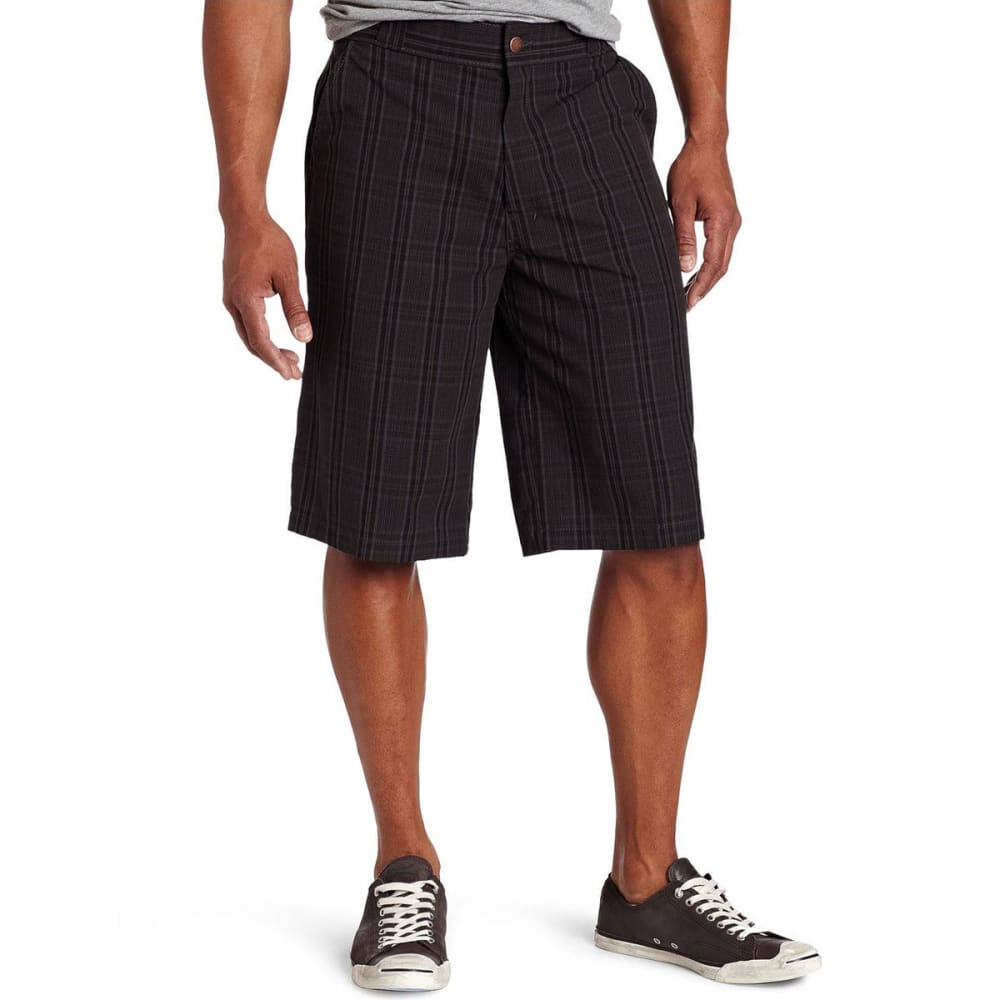 DICKIES Men's 13 in. Regular Fit Multi-Use Pocket Plaid Shorts - BLACK/TAUPE