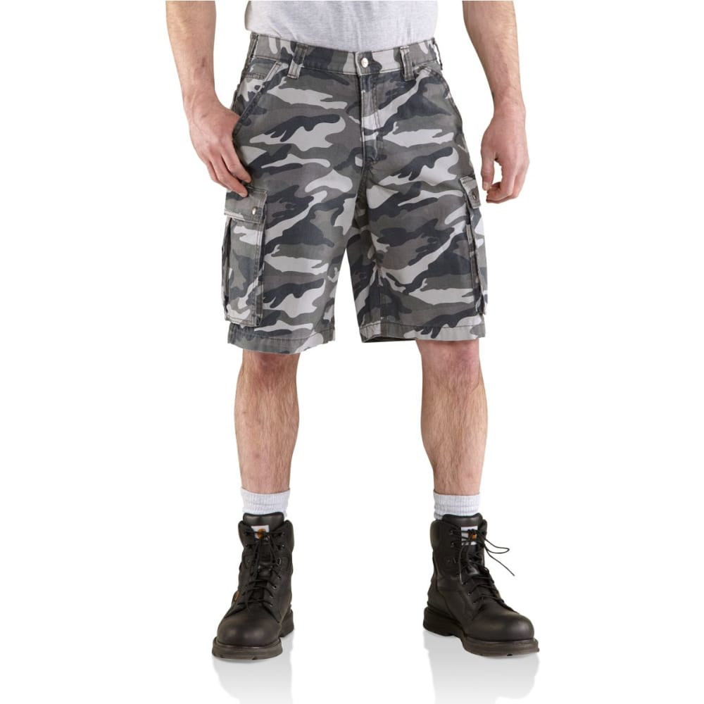 CARHARTT Men's Rugged Cargo Camo Shorts - GRAY CAMO