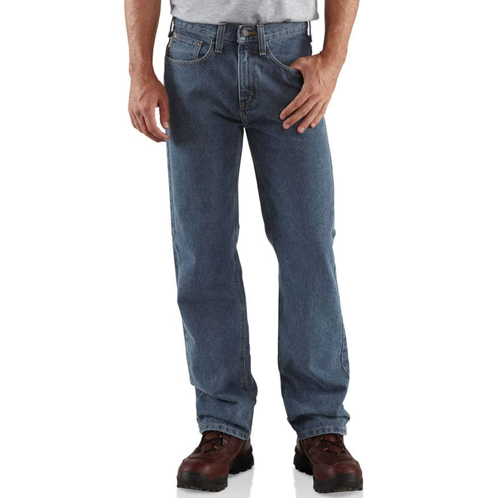 CARHARTT Men's Straight Leg Relaxed Fit Jeans - DEEP STONE
