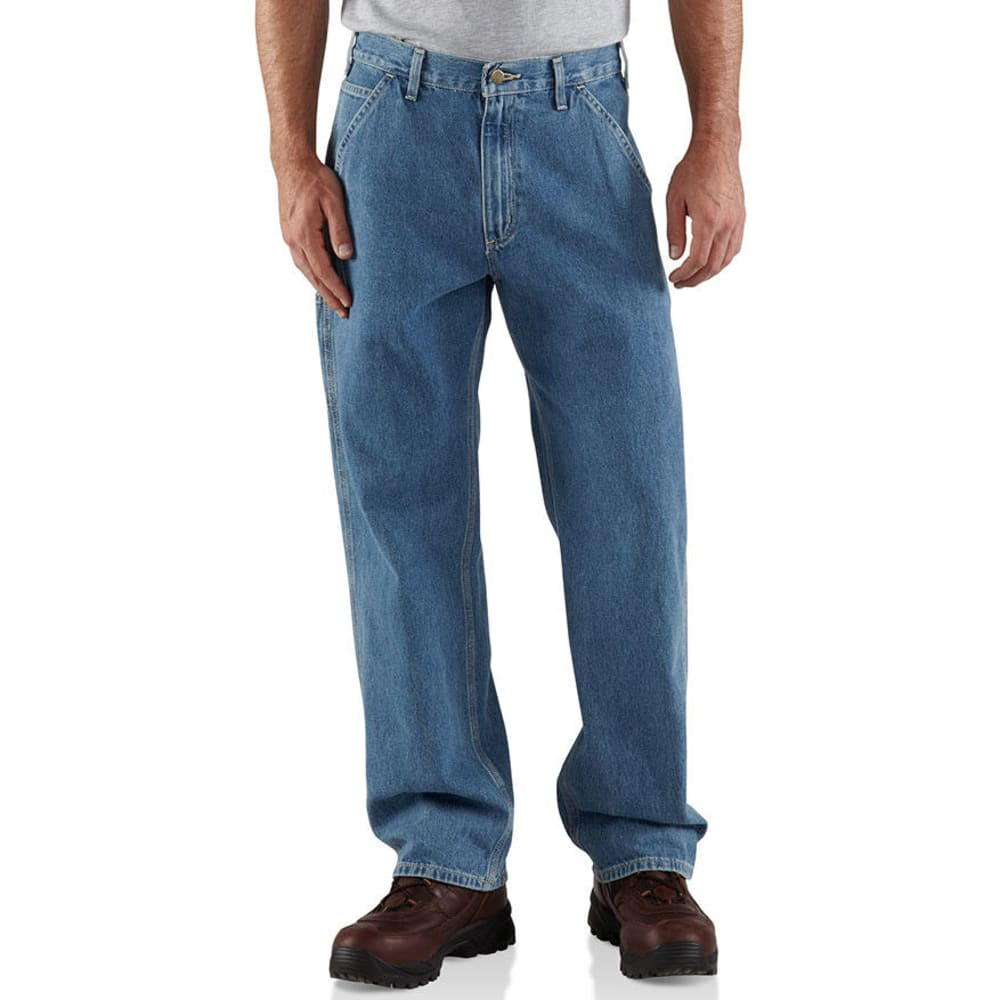Carhartt Men's Washed Denim Work Dungarees, Extended Sizes - Blue, 50/32