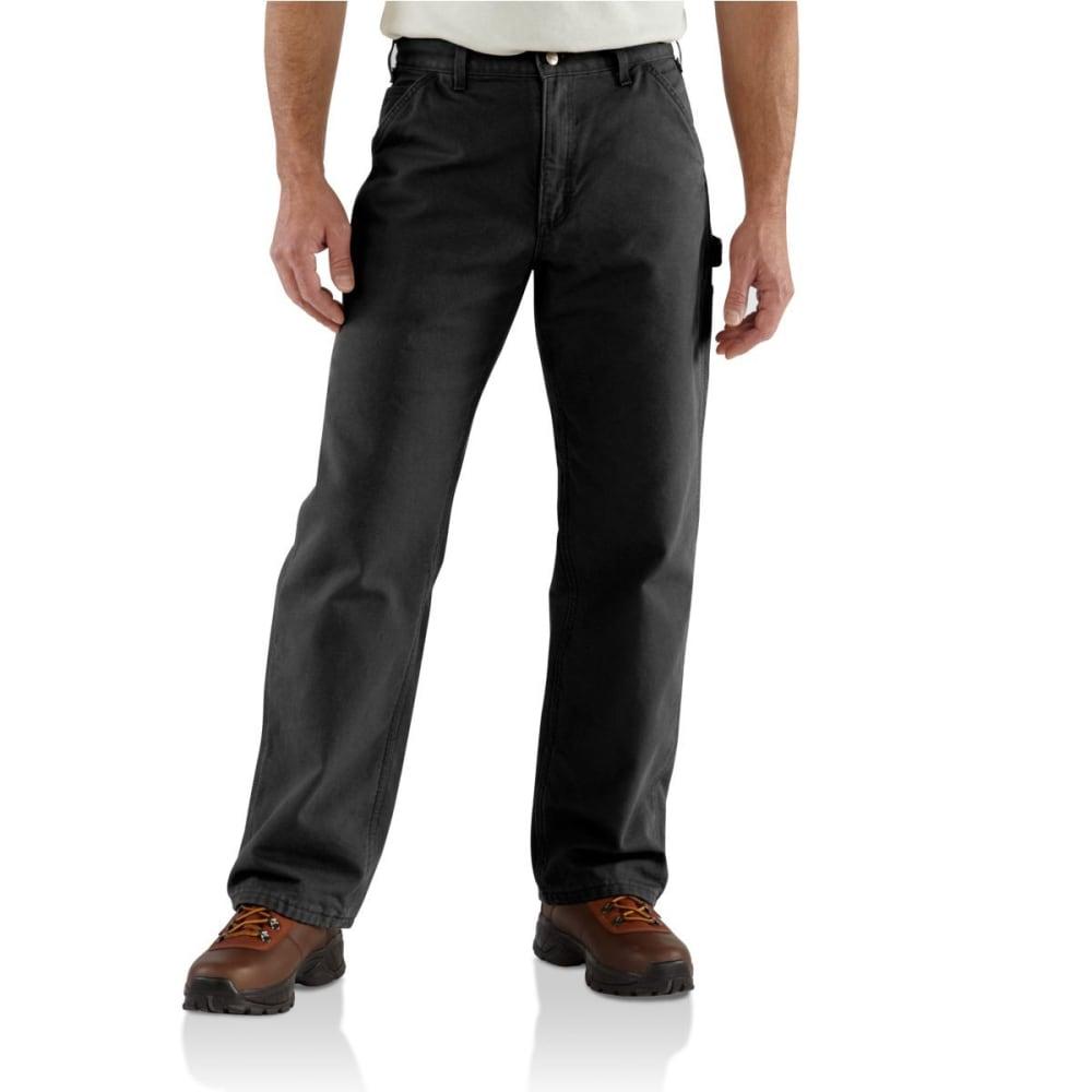 CARHARTT Men's Washed Duck Flannel Lined Work Pants - BLK BLACK