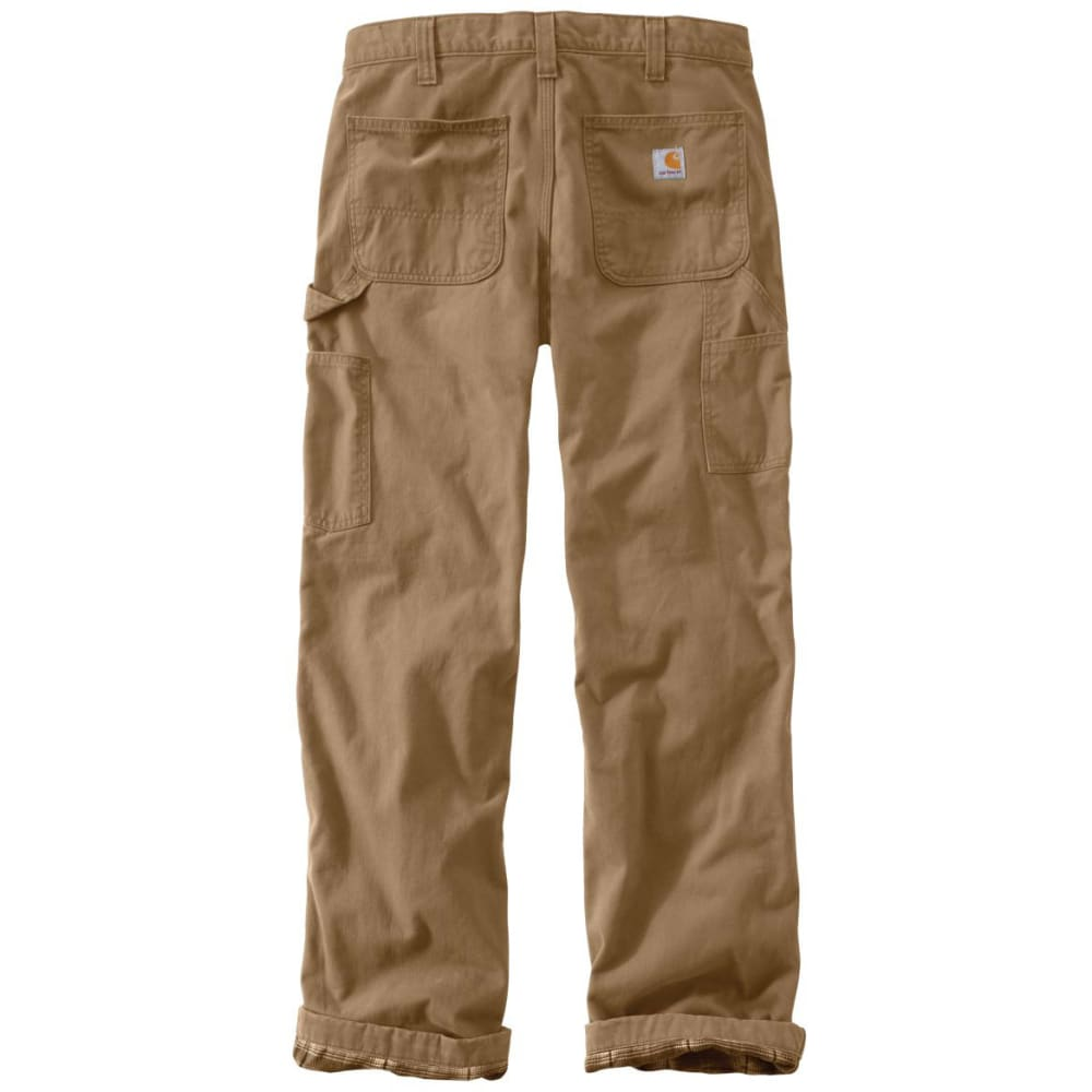 CARHARTT Men's Washed-Twill Flannel-Lined Pants - 235 DARK KHAKI