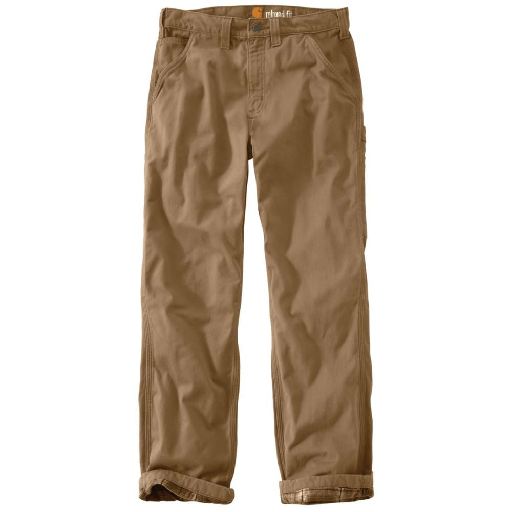 Carhartt Men's Washed-Twill Flannel-Lined Pants - Brown, 42/30