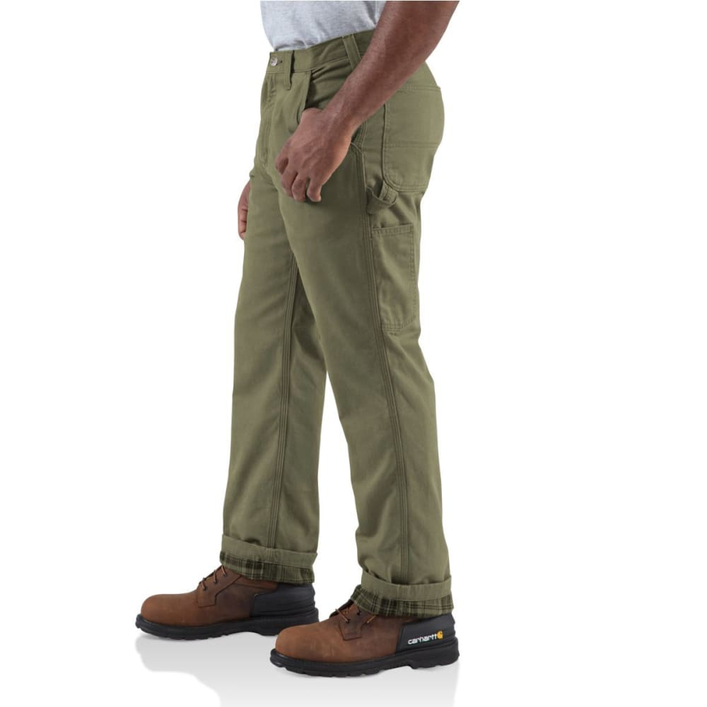 CARHARTT Men's Washed-Twill Dungaree/Flannel Lined Pants - ARMY GREEN