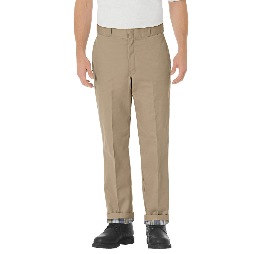 Dickies Men's Relaxed Fit Flannel-Lined Work Pants - Brown, 34/30