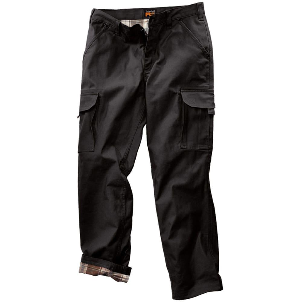 Timberland Pro Men's Gridflex Flannel Lined Canvas Work Pants - Black, 34/32
