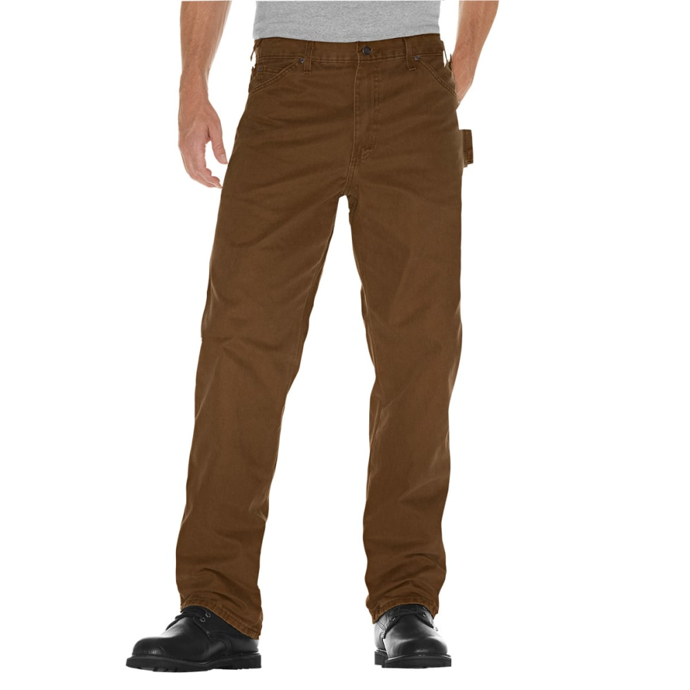 Dickies Men's Relaxed Fit Sanded Duck Carpenter Jean - Brown, 32/30