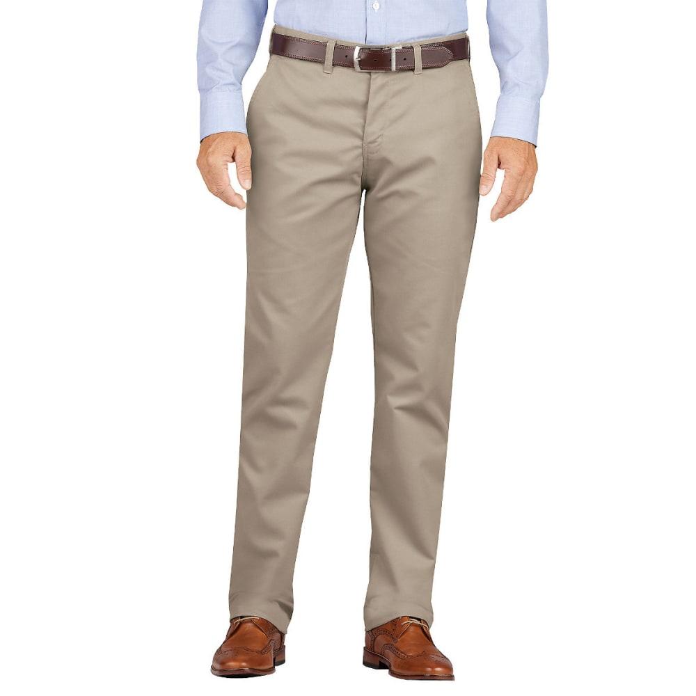 DICKIES Men's Dickies KHAKI Slim Fit Tapered Leg Flat Front Pant 30/30
