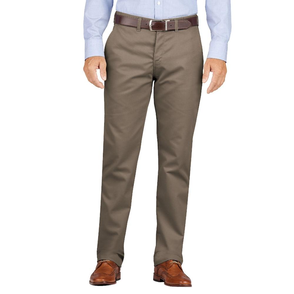 DICKIES Men's Dickies KHAKI Slim Fit Tapered Leg Flat Front Pant - RNSD PEBBLE BROWN-RN