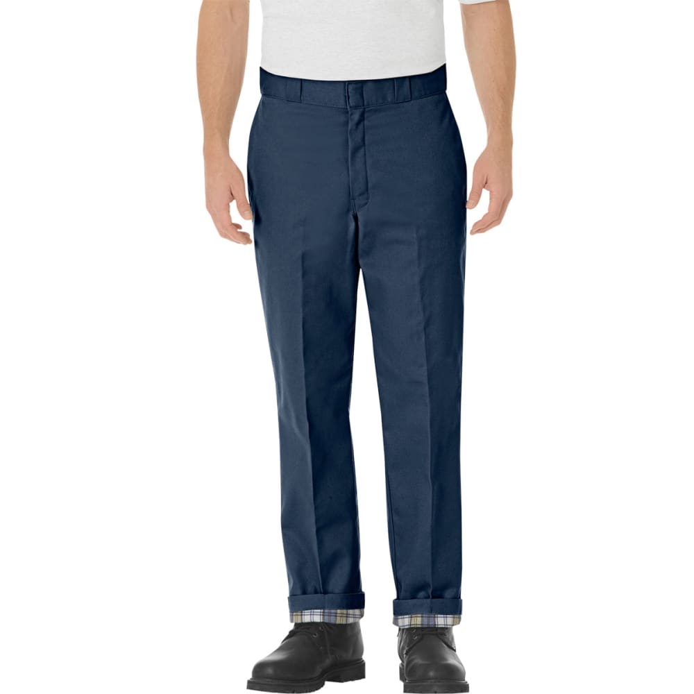 DICKIES Men's Relaxed Fit Flannel Lined Work Pants - NAVY