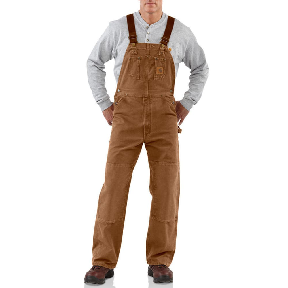 Carhartt Men's Unlined Duck Bib Overalls - Brown, 36/30
