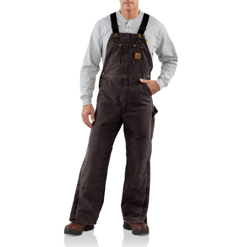 CARHARTT Men's Quilt Lined Sandstone Duck Bib Overall - DKB DARK BROWN
