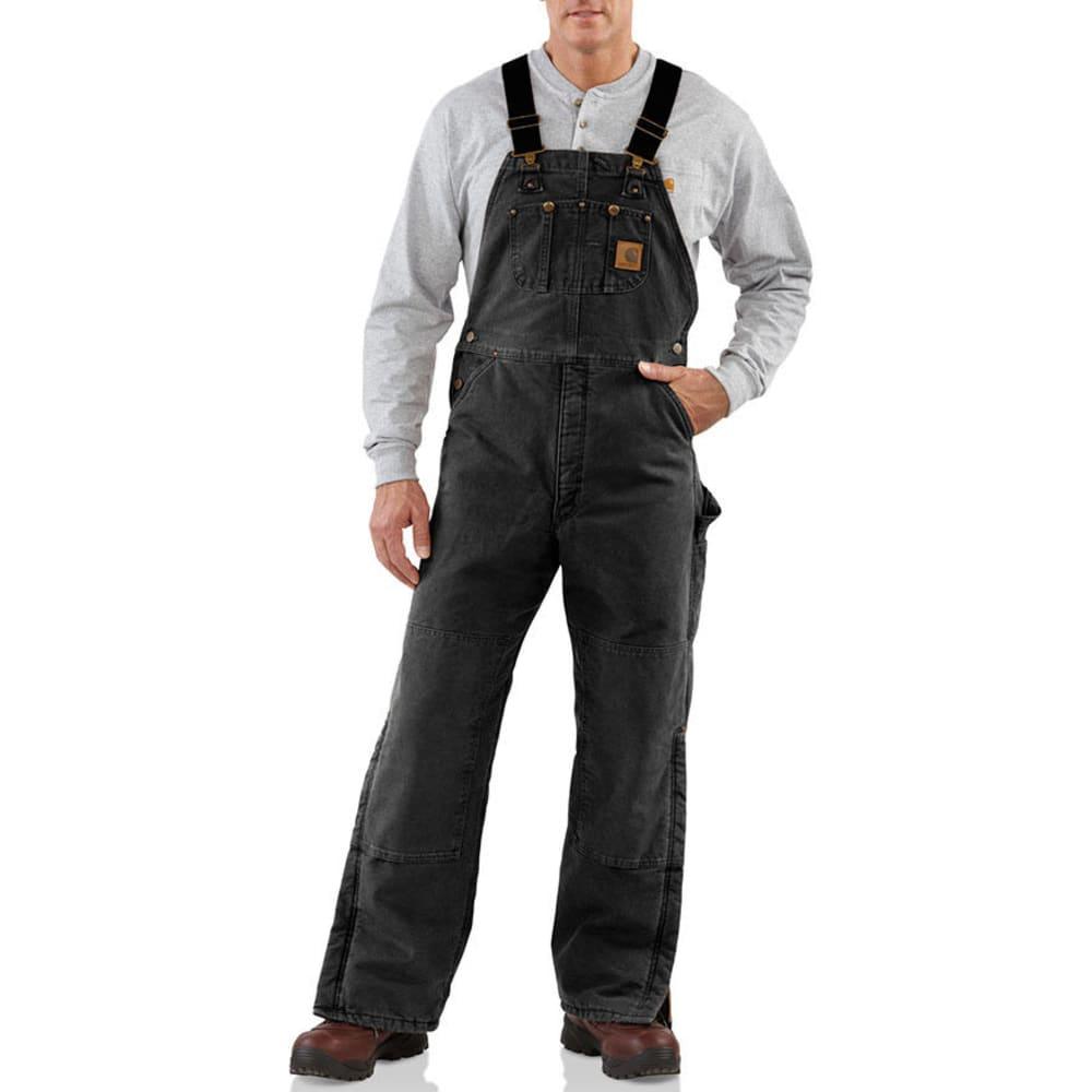 Carhartt Men's Sandstone Quilt-Lined  Duck Bib Overalls - Black, 36/32
