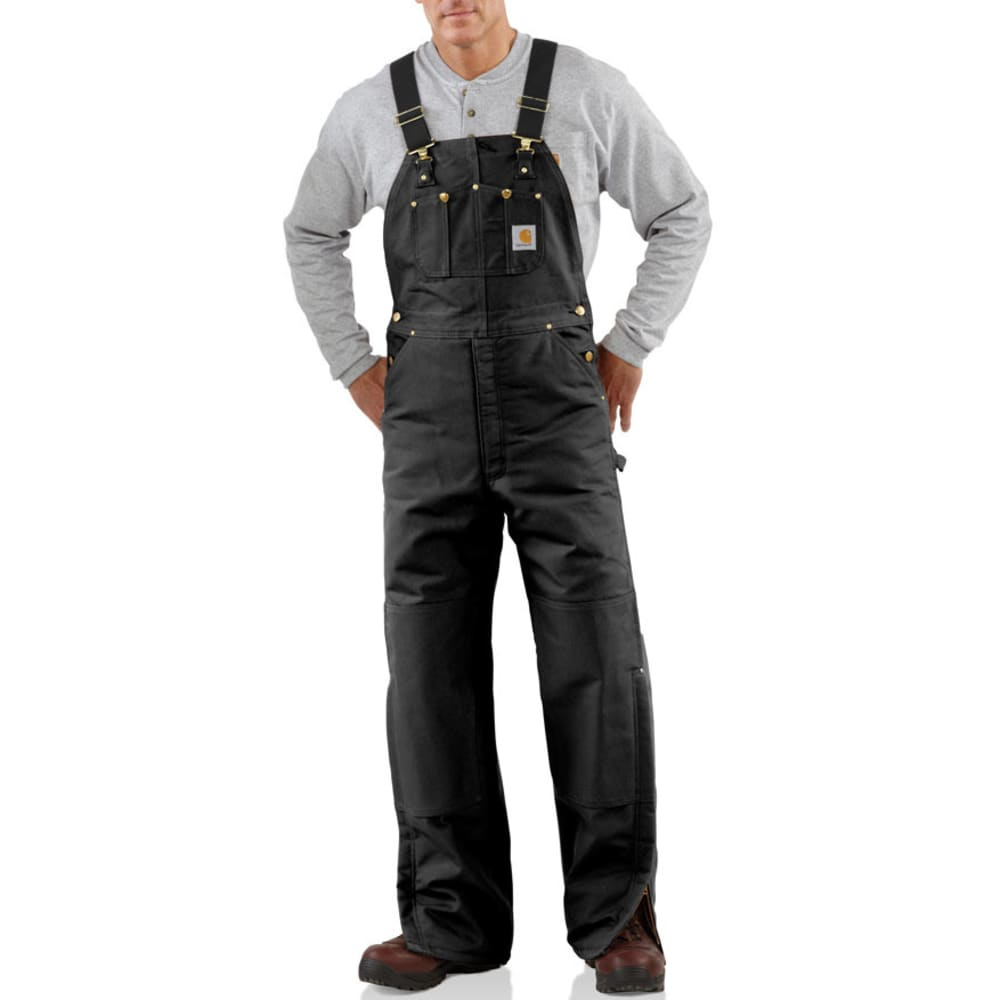 CARHARTT Men's Duck Bib Quilt Lined Overalls - BLACK