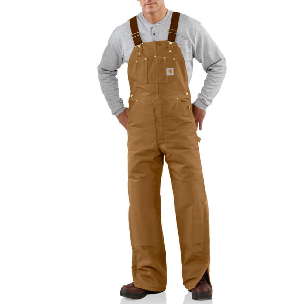 CARHARTT Men's Duck Bib Quilt Lined Overalls, Extended Sizes - CARHARTT BROWN