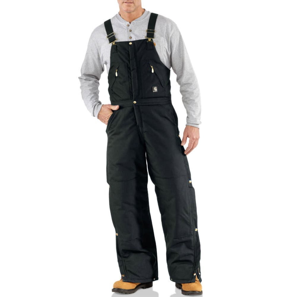 CARHARTT Men's Extremes Zip-To-Waist Arctic Quilt Lined Biberall - BLACK
