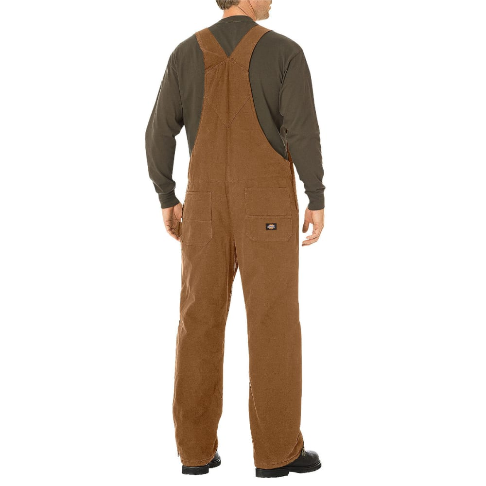 DICKIES Men's Sanded Duck Insulated Bib Overalls - BROWN