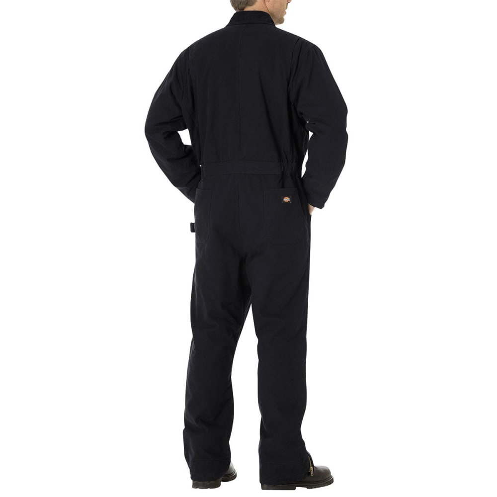 DICKIES Men's Sanded Duck Insulated Coveralls - RBK BLACK