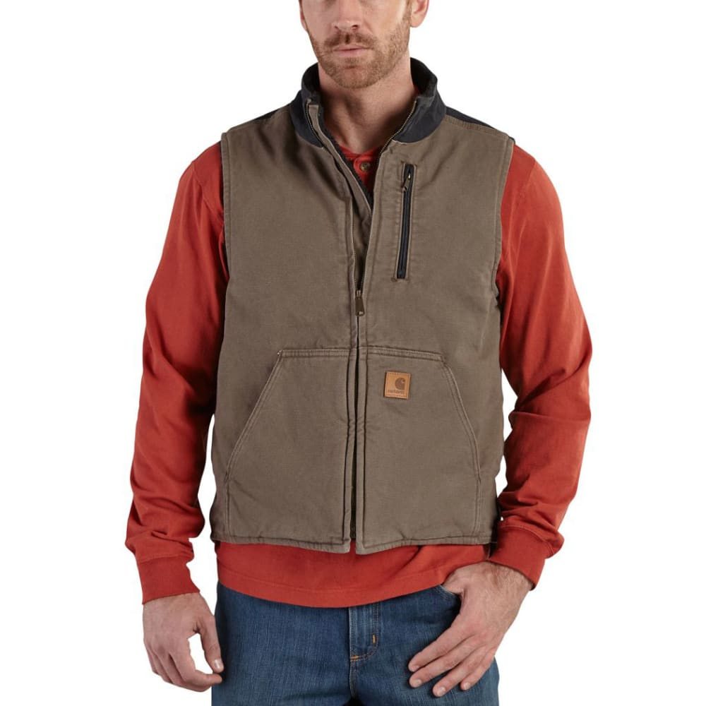 Carhartt Men's Mock Neck Full-Zip Vest - Brown, L