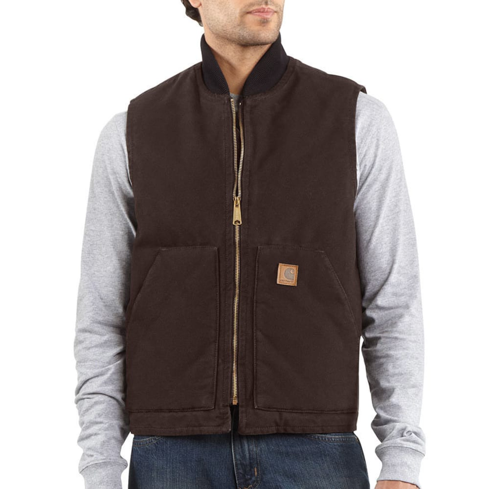 CARHARTT Men's Sandstone Arctic Quilt-Lined Vest - DARK BROWN