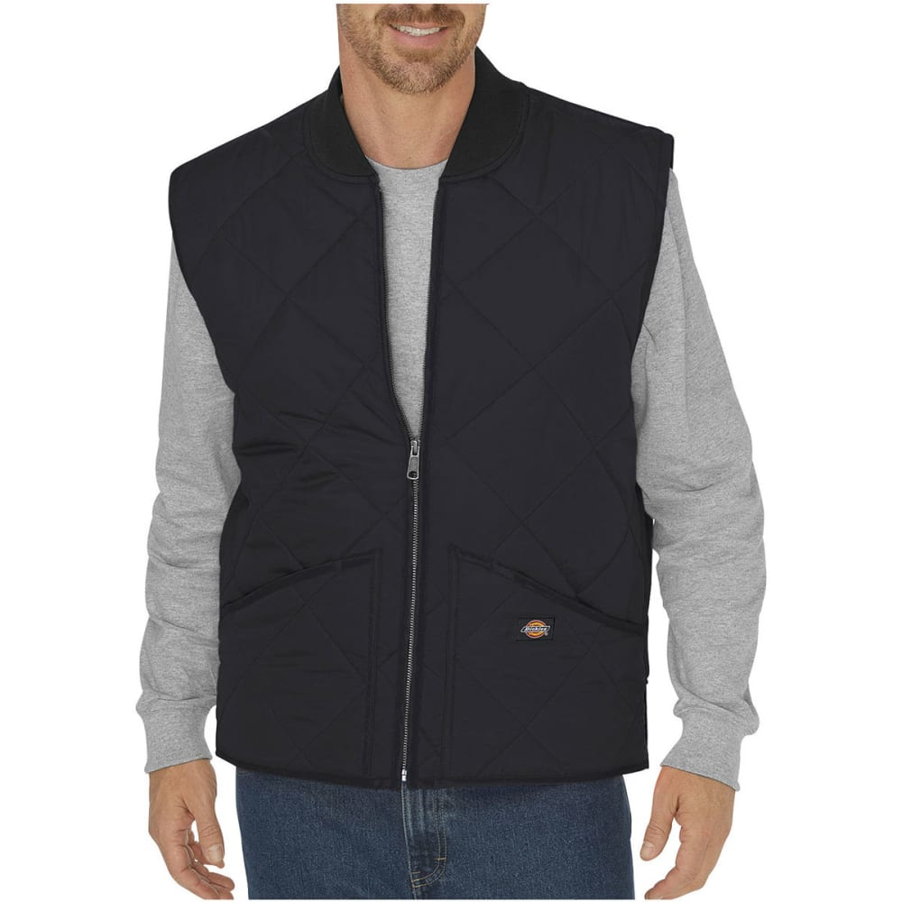 DICKIES Men's Diamond Quilted Nylon Water Resistant Vest - BK BLACK