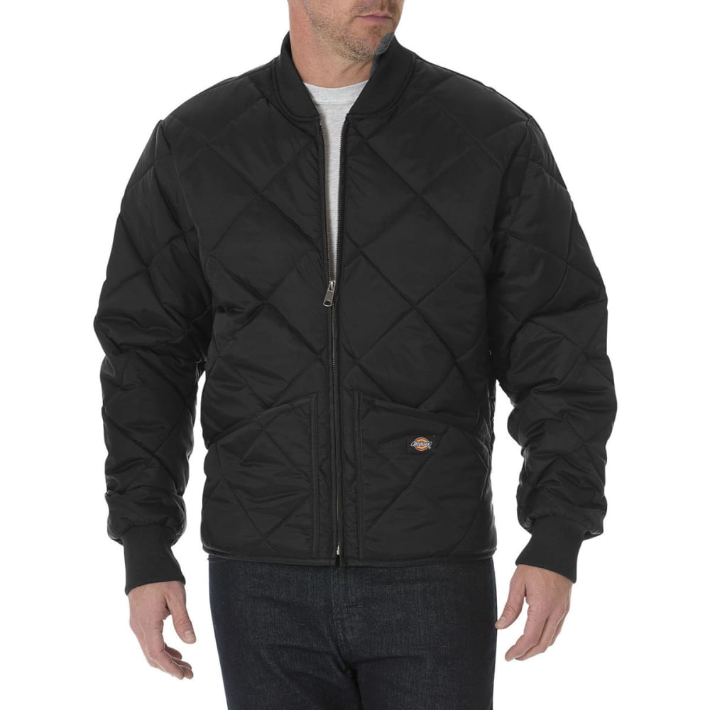 DICKIES Men's Diamond Quilted Nylon Water Resistant Jacket - BK BLACK