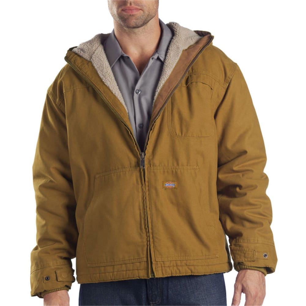 DICKIES Men's TJ350 Sanded Duck Sherpa Lined Hooded Jacket - RBD BROWN