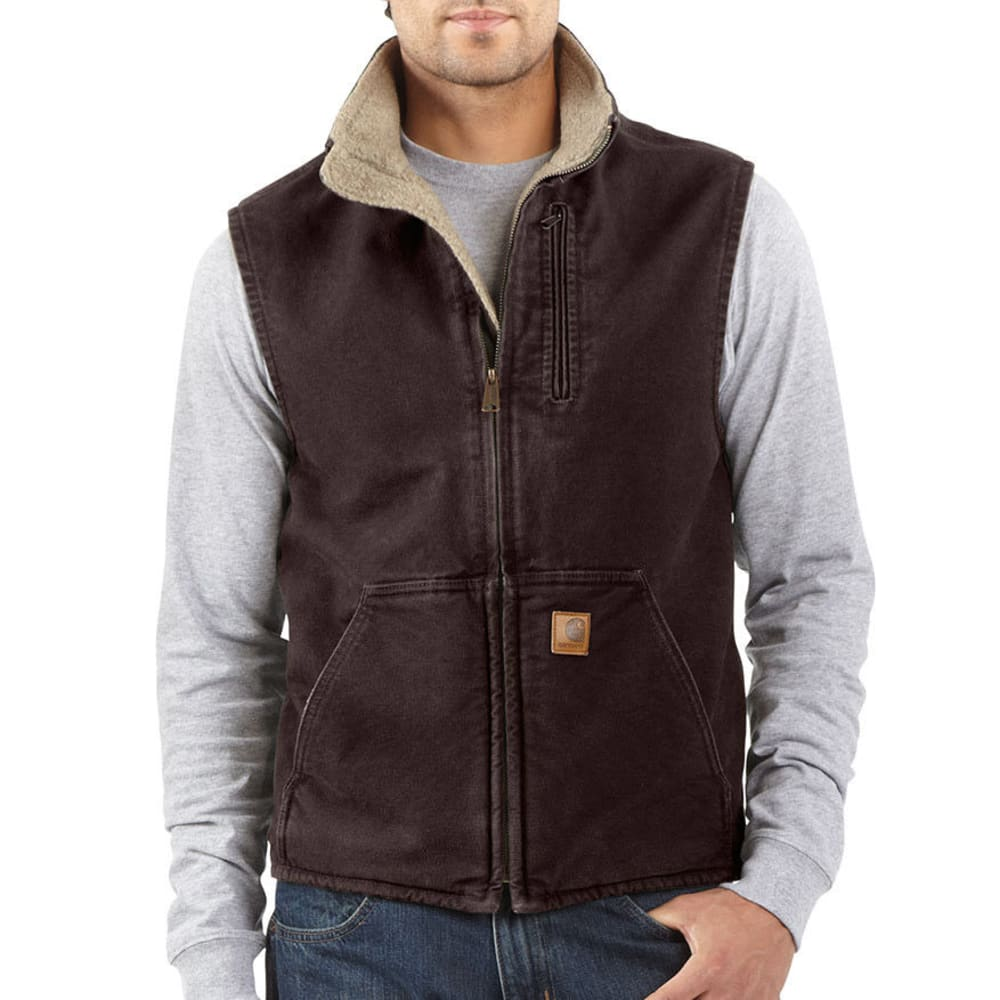 CARHARTT Men's Sandstone Sherpa Lined Vest - DKB DARK BROWN