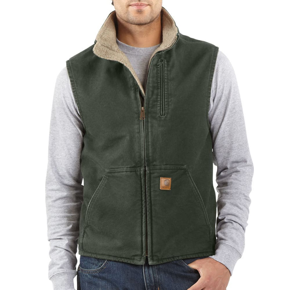 CARHARTT Men's Sandstone Sherpa Lined Vest - 355 MOSS/BLACK