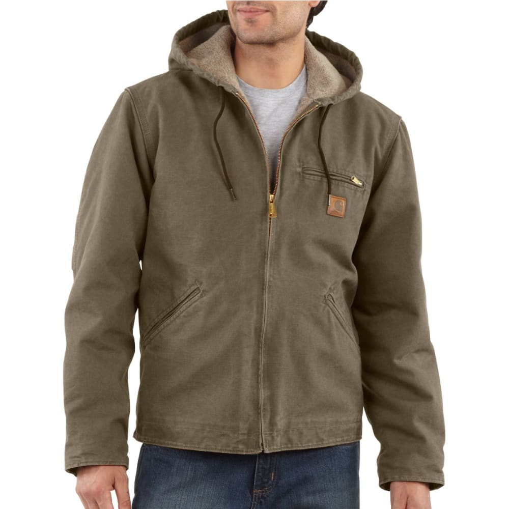 CARHARTT Men's Sandstone Sierra Sherpa Lined Hooded Jacket - ALGAE
